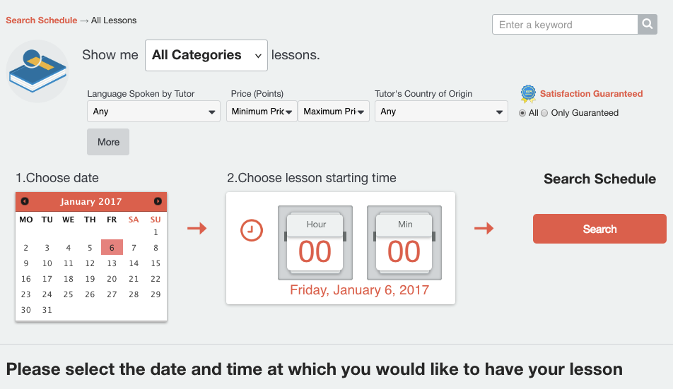 Search by Schedule Page