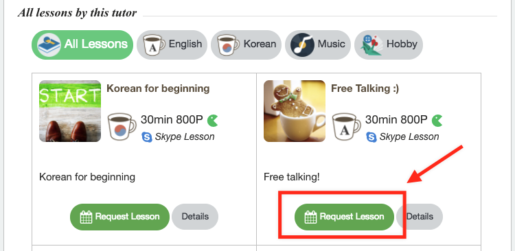 Click on lesson 'Request lesson' and move on to the tutor's available schedule.