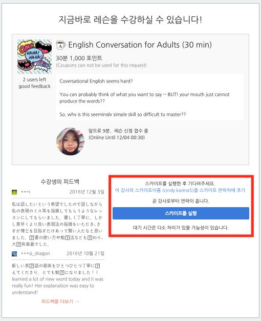 레슨 상세 페이지의 스카이프 실행 버튼
