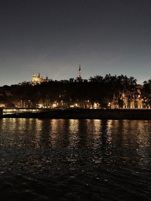Lyon's night view by the river
