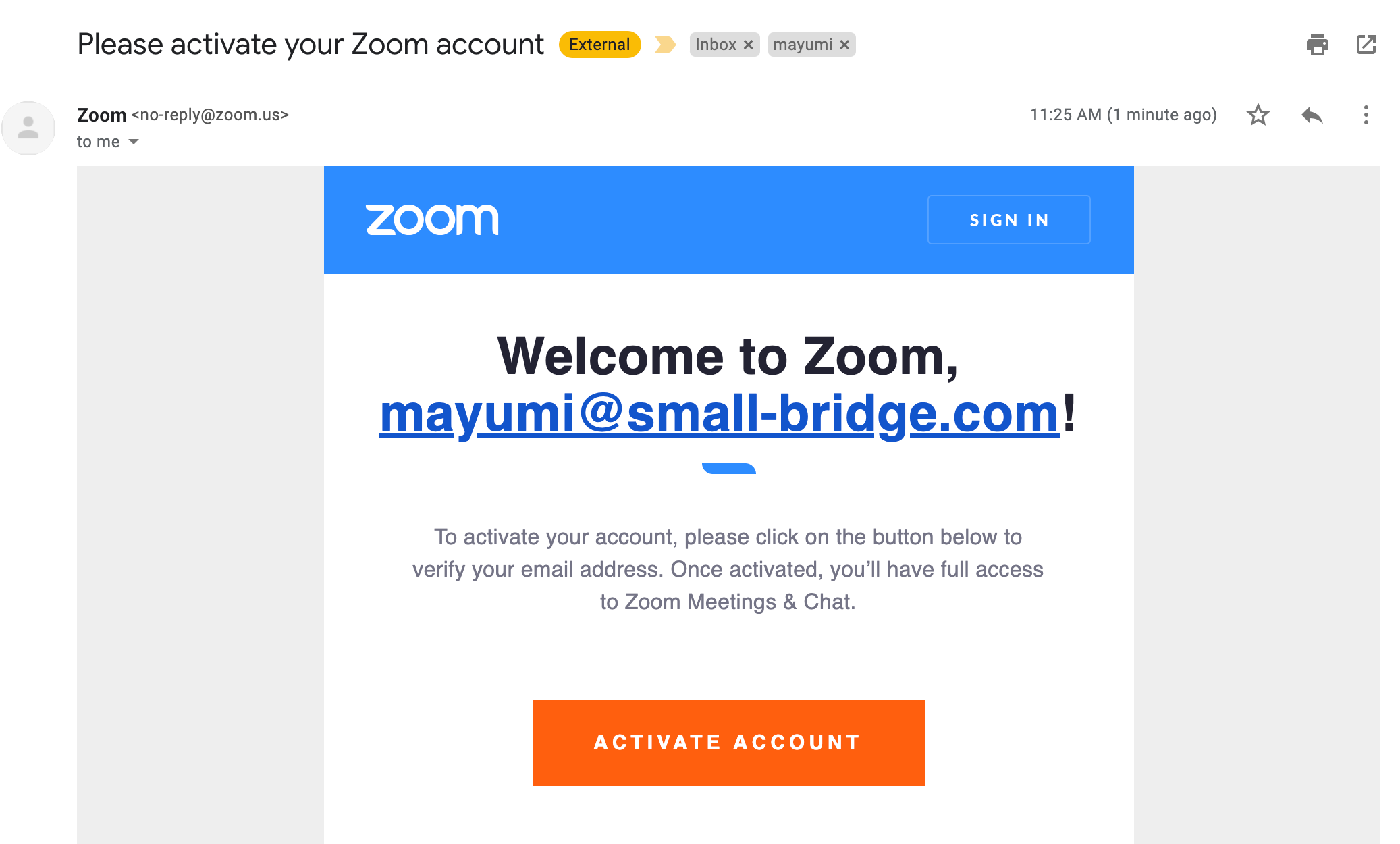 Zoom Confirmation Email